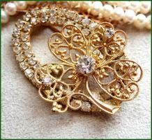 Lucky Four Leaf Clover Pin Gold RS Brooch 1950s Vintage Jewelry $45
