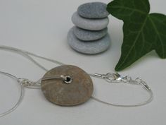stone and sterling silver necklace Washer Necklace, Pendant Necklace, Stone Jewelry, Sterling Silver Necklaces, Handmade Jewelry, Bracelets, Earrings, Etsy, Sterling Necklaces