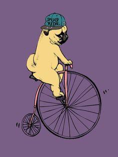 Pug Ride Art Print