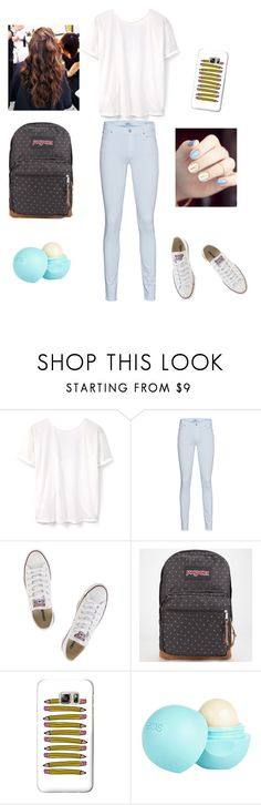 """""""school outfit"""" by marilyng341 ❤ liked on Polyvore featuring MANGO, 7 For All Mankind, Converse, JanSport, Casetify and River Island"""