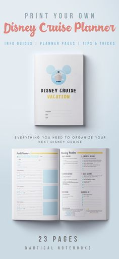 Print your very own, personalized Disney Cruise Planner! 23 printable pages takes care of all your Disney Cruise Line needs. Organize your fish extender gift exchange, make packing lists, or research what to do on Castaway Cay. Features info guides, tips, and planner pages.