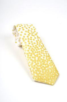 Mens metallic gold dot Necktie  by DapperGent  White and gold wedding  - groom's tie - groomsmen tie