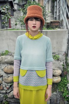 Pastel colour jumper with decorative flaps  // Hand machine knit // by Yu Square, via Etsy.
