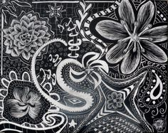 New piece! Flower Abstract Zentangle Doodle on Scratchboard by AbbyEscobalArt, $25.00