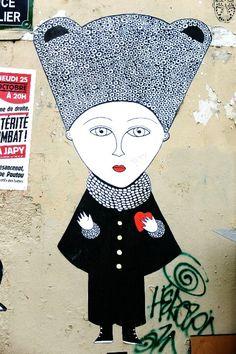 Paris 20 - quartier Ménilmontant - place Maurice Chevalier - street art - Fred le Chevalier