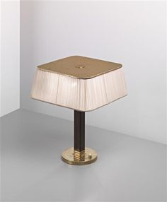Paavo Tynell; Brass, Wood and Painted Metal Table Lamp for Taito Oy, c1949.