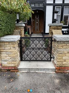 Laser cut gate - London - Fan design by Miles and Lincoln. www.milesandlincoln.com Laser Cut Screens, Laser Cut Panels, Porch Gate, Roller Doors, Metal Screen, Backyard, Patio, Fence Design, Sound Proofing