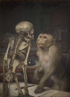 Painting byGabriel Cornelius von Max (1840-1915): Monkey before Skeleton