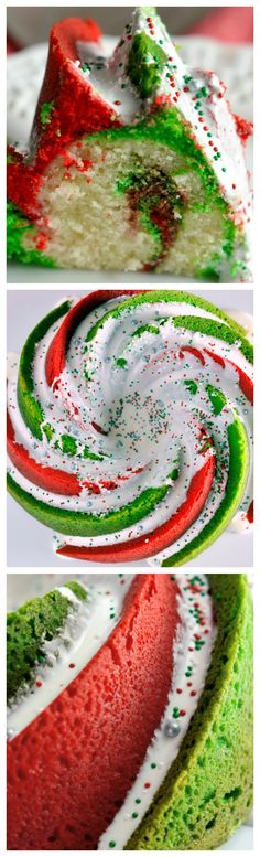 Christmas Bundt Cake ~ Easy to create this beautiful and festive vanilla flavored Christmas Swirl Bundt Cake!
