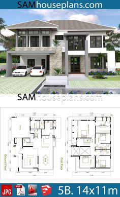 House Plans with 5 Bedrooms - Sam House Plans Modern House Floor Plans, My House Plans, House Layout Plans, Duplex House Plans, Bungalow House Plans, House Layouts, One Storey House, 2 Storey House Design, Duplex House Design