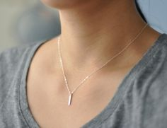 tiny silver bar necklace