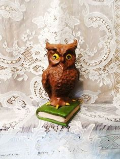 Wise Old OWL Standing On A Book- Owl Figurine-Vintage Owl Statue- Big Eyes-Cool Home Decor- Funky Decor- Hoot Owl-Barn Owl-Orphaned Treasure by OrphanedTreasure on Etsy