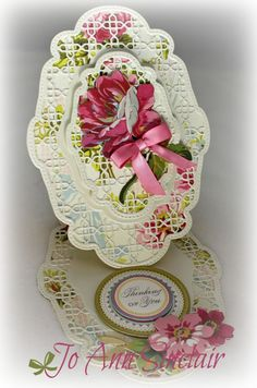 Easel card, made with dies from Tonic Studios. Paper, flowers and sentiment are from Anna Griffin.