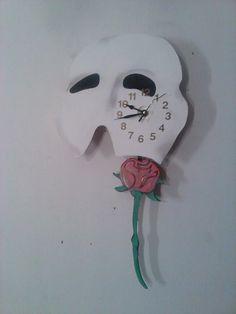 Phantom of the Opera Pendulum Clock w/ Swinging Rose