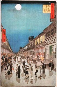 Hiroshige ANDO, Japan 安藤広重(浮世絵)「猿わか町よるの景」