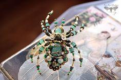 """Купить Кольцо паук """"Nirali"""", Летняя коллекция 2016 - зеленый, паук, украшение паук, вышивка"""