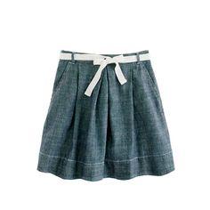 Girls' chambray ribbon-tie skirt