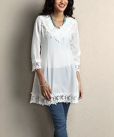 White Chiffon Floral Lace-Hem Tunic