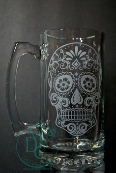 Glass Etched Sugar Skull Mug Etched by MyDaileyCreations on Etsy http://www.skullclothing.net
