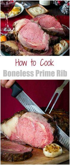 Evenly cooked boneless prime rib with an amazing crispy crust - guaranteed! #primerib #howtoroastprimerib #bonelessprimerib #christmasdinner