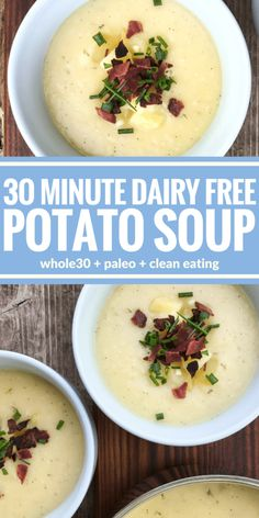 30 Minute Dairy Free Potato Soup This 30 Minute Dairy Free Loaded Potato Soup is proof that you don't need milk or cheese to create a creamy satisfying soup. So rich & ready in 30 minutes! Dairy Free Bread, Dairy Free Soup, Dairy Free Snacks, Lactose Free Recipes, Dairy Free Breakfasts, Dairy Free Diet, Vegetarian Recipes, Healthy Recipes, Gluten Free