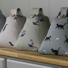 Handmade Sophie Allport fabric doorstops. Would make great Christmas presents. Cat, Labrador, pheasant, chicken, terrier, gardening, English rose and the special Christmas fabric, Robin & Mistletoe.