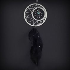 Dream Catcher - White Crescent Moon with Quartz Crystal and Turquoise on Etsy, $33.00