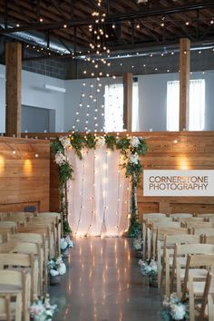 Client Wedding - Sarrah and Bob at River Market Event Place. Floral design by @goodearth Ultrapom rentals featured: 2 in. clear globe string lights, birch arch, Ultrapom Design Team installation!