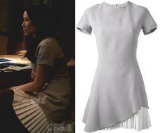 Elementary season 2, episode 23: Joan Watson's (Lucy Liu) light grey, short-sleeve dress with white ruffle hem by Victoria Beckham #getthelook #joanwatson #elementary