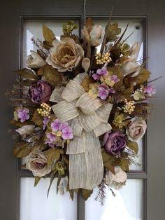 Fall Floral Arrangement Door Wreath/Swag Taupe and purple Winter Wreaths, Summer Wreath, Wreath Crafts, Wreath Ideas, Fall Swags, Fall Floral Arrangements, Deco Wreaths, Trendy Tree, Heavens