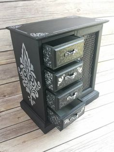 Black Jewelry Box Vintage Chic French Country Gothic Up Cycled Eco Friendly READY TO SHIP - pinned by pin4etsy.com