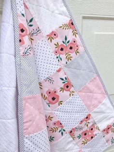Check out our baby quilt kit selection for the very best in unique or custom, handmade pieces from our sewing & needlecraft shops. Gingham Quilt, Pink Quilts, Baby Girl Quilts, Girls Quilts, Baby Girl Blankets, Modern Baby Quilts, Baby Quilts To Make, Baby Patchwork Quilt, Handmade Baby Quilts