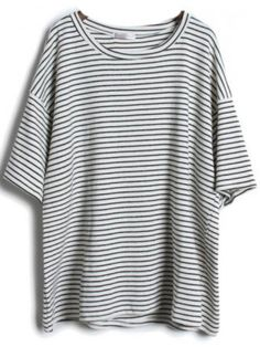 Shop Grey Short Sleeve Striped Loose T-Shirt online. SheIn offers Grey Short Sleeve Striped Loose T-Shirt & more to fit your fashionable needs. T Shirt And Shorts, Grey Shirt, Shirt Dress, Ribbed Dress, Loose Shirts, Cotton Shirts, Baggy Shirts, Men Shirts, Summer Shirts