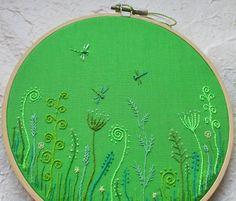 Makiko/oksaniko - Hand Embroidery Hoop Wall Art - Dragonfly meadow