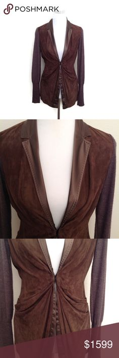 Brunello Cucinelli Leather Jacket S M Cashmere This is a fun pre loved Brunello Cucinelli Cashmere brown leather Draped Long Sleeve jacket size medium would also fit a small in good condition does show minor wear has some scratches on leather and some fuzz has a big hole on the inside sleeve but it is on the hem so It would be an easy fix great to dress up or down! Very stunning piece very high quality buttery soft Suede! A piece you'll have forever Brunello Cucinelli Jackets & Coats
