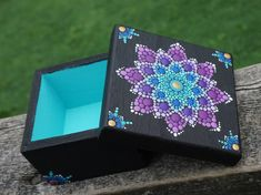 Dot Art Mandala Flower Box Painted Teal Blue Purple Gold Collectible Wood Square by LaBellaArtigiana on Etsy