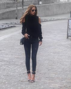 Nada Adelle is wearing black jeans with a matching... - Street Style & Fashion Tips