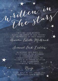 Constellation Stars Midnight Blue Wedding by HipHipHoorayStudio