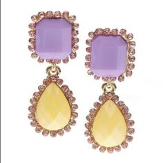 🌸Pastel Drops🌸 Pastel Drop Earrings-Purple and Yellow-Very Cute-Enlarged to show Detail😃 PRICE FIRM unless Bundled for the discount‼️ 5️⃣Available T&J Designs Jewelry Earrings