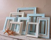Frame Grouping -  frame set - Cottage Chic - Shabby and Chic - Vinage Home decor - wall decor. $68.00, via Etsy.