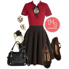 Essential Elegance Skirt in Black by modcloth on Polyvore featuring polyvore fashion style Moon Collection Olivia Burton vintage