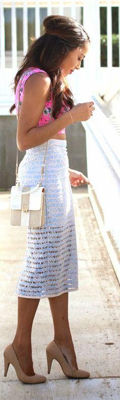 Light Blue And White Thigh Lined Sheer Stripe Pencil Mini Skirt