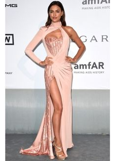 Irina Shayk brought sex appeal to the amFar gala, wearing a sexy thigh-high split gown #teamlbd #irinashayk #cannes #glamorous #sexy #dress #victoriassecret #model