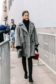 plaid coat and black turtleneck #fall #fallstyle
