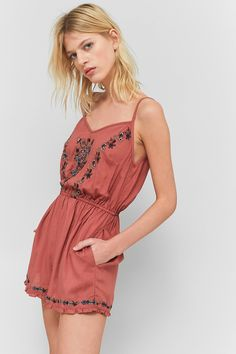 e62aaa848a1 Pins   Needles Floral Embroidered Strappy Back Playsuit