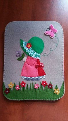 How-To: Reverse Appliqué Felt Patterns, Quilt Patterns Free, Embroidery Patterns, Hand Embroidery, Felt Phone, Sewing Crafts, Sewing Projects, Felt Bookmark, Sunbonnet Sue