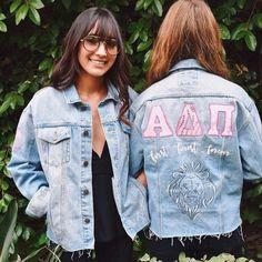 Jean jacket Alpha Delta Pi (ADPI) sorority letters