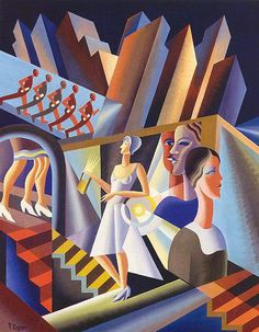 Specific comment 2: Italian futurism - Fortunato Depero Use of angles, men falling in line, women in white waiting for her wedding