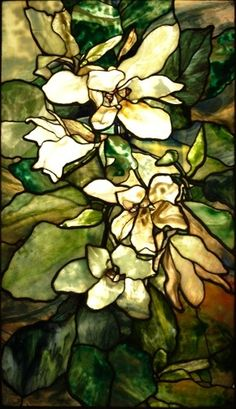 Magnolia Window by Louis Comfort Tiffany 1900. His stained glass window was…