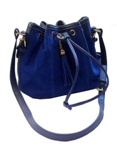 Blue Suedette Duffle Shoulder Bag